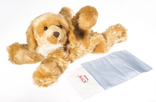 Brando the Dog 3 in 1 Companion, brown and white plush dog with space for hand to turn into puppet, includes white bag filled with weighted granules, blue empty bag for own sensory filling,  man made material, size:  approx. (l) 47cm, empty bag approx. (l) 19cm x (w) 14cm.