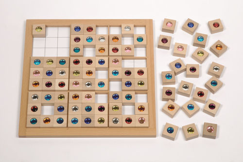 Full Size Sudoku - Jewels, large wooden board with white grid pattern, 81 jewel inset beech wood square playing pieces 9 different coloured stones, playing task and solutions booklet, all wooden construction, size: game board (l) 35cm x (w) 35cm, jewel playing pieces approx. (l) 3cm x (w) 3cm.