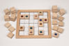 Mini Sudoku - Jewels, wooden table top game comprising natural wood base with grid patter, 36 wood jewel-inset playing pieces, tasks and solutions booklet, Size: wooden frame (l)24cm x (w) 24cm, jewel stone approx. (l) 3cm x (w) 3 cm.