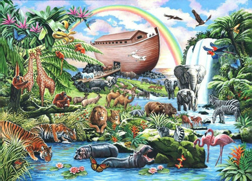 500 Large Piece PUzzle - Noah's Ark, images shows colourful natural scene of wooden ark and animals surrounding, Pieces approx. 3.6cm in size.  Size: 68.6cm x 48.3cm. Boxed.