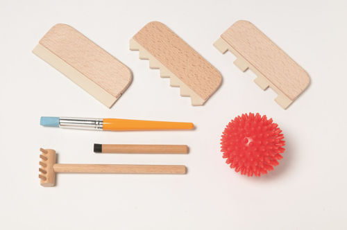 Sand Accessory Kit for Small Sand Tray, natural beech wood handles, set contains: sand pen, brush, rake with handle, 2 x pattern rakes, sand straightener and tactile ball