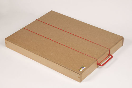 Lid for Standard Sand Tray, natural coloured MDF lid with red rubberised cord to fit around the handles and keep sand in, for use with Standard Sand Tray, size: (l) 65cm x (w) 50cm x (d) 0.8cm