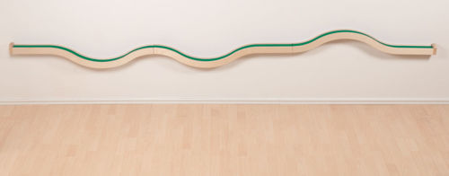 Wall Play Track Set, natural beech wood and multiplex wavy wall-mounted track for use with accessories, Size: (l) 313cm x (w) 7.2cm x (d) 5cm. Includes all fixture fittings.