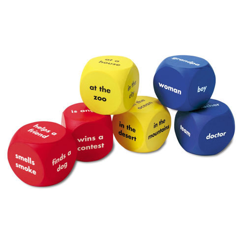 Story Starter Cubes, set of 2 x red,2 x blue and 2 x yellow dice each depicting a sentence on each side, washable plastic for storytelling in care homes