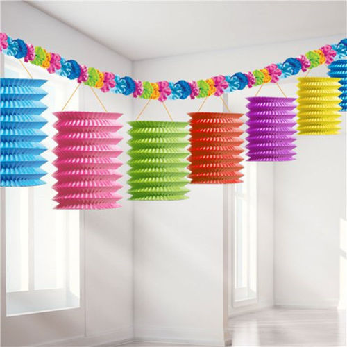 Rainbow Paper Lantern Garland, party decoration, paper lanterns in mixed vibrant colours, ruffled hanging string in pink blue green red purple yellow