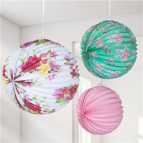 Vintage Tea Party Paper Lanterns, 3 assorted floral designs white and pink floral, green and pink floral and pink floral, pleated paper globes with hanging strings