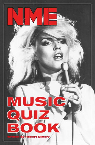 Music Quiz Book, over 1000 NME quiz questions from all eras of music, 276 pages, softback book cover monochrome image of Debbie Harry  with red text on black background, Size: (l) 23.2cm x (w) 15.3cm x (d) 2.5m