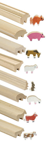 Craft Rods - Animals, natural wooden shaped rods in long lengths for cutting, 8 animal shapes horse standing, horse grazing, sheep standing, sheep grazing pig, rabbit cow and cat.