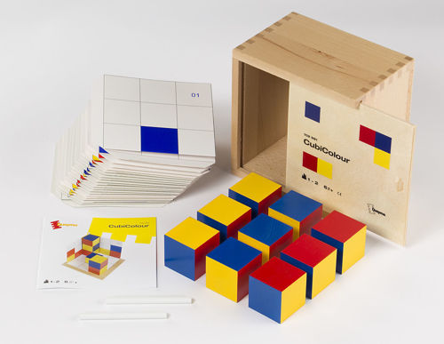 Cuby Colour Game, eco friendly wooden matching game, wooden cubes with coloured sides in yellow blue and red with white laminated board cards showing colour combinations to match, Set includes:  9 x wooden coloured cubes 20 laminated board templates 2 x blank laminated board templates wooden storage box Size: Cubes (l) 4cm x (w) 4m x (d) 4cm, box: (l) 16cm x (w) 16cm x (d) 11cm.