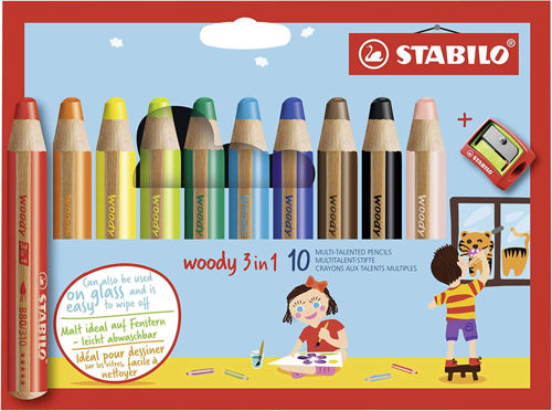 Stabilo Woody 3 in 1 Crayons, chunky wooden pencil crayons in 10 assorted colours, box depicts crayon set with blue background and children drawing, size: (l) 11cm x (dia) 1.5cm.