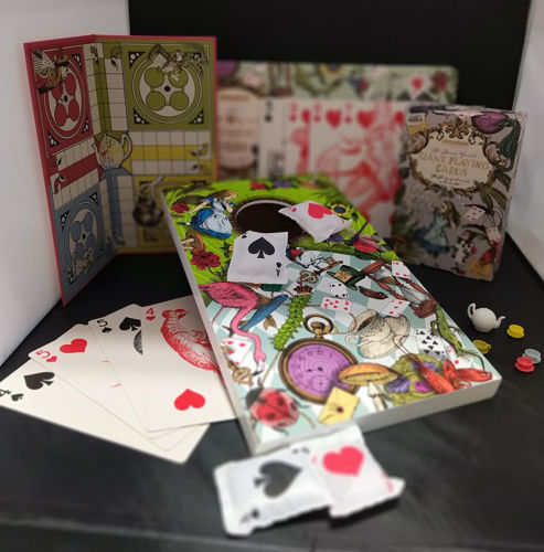 Alice in Wonderland Bundle, set of 3 themed games comprising of Tea Party Ludo, The Queen's Guards Alice in Wonderland Giant Playing Cards and Bean Bag Toss - Down the Rabbit Hole, assorted colours and sizes