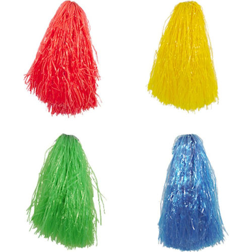 Cheerleader Pom Poms, set of 4 assorted, one each of red blue green and yellow, plastic fringing to wave for fitness music sports