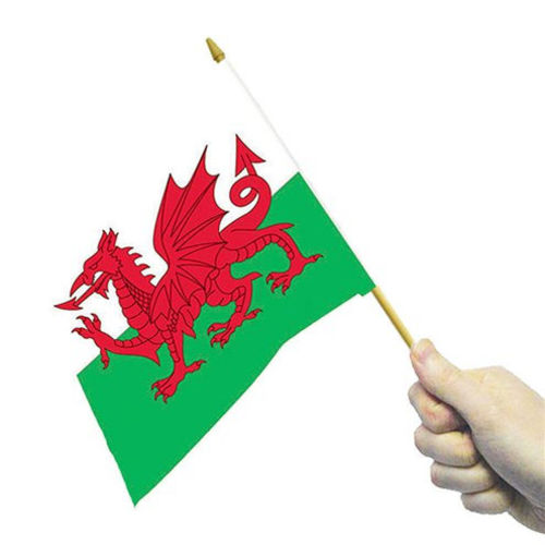 Handwaving Welsh Flag, pack of 4 flags red dragon on a green and white background, lightweight man made material on a stick, washable