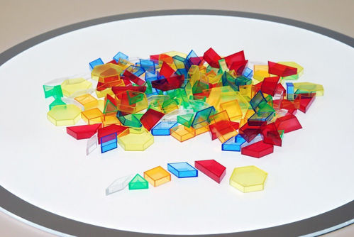 Translucent Hollow Pattern Blocks, 180 assorted shapes, Set includes:  yellow hexagons green triangles blue rhombi orange squares red quadrilaterals clear rhobi Size: approx. 2-5cm. Boxed.