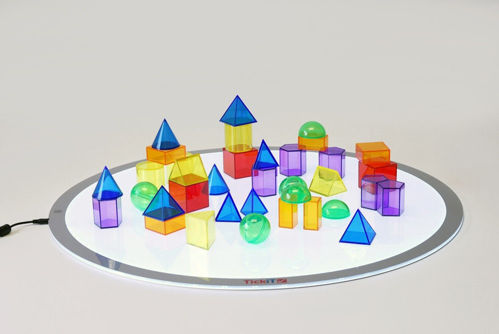 Translucent Colour Geometric Shapes, 36 assorted shapes in assorted colours, cones, squares, oblongs, cylinders, hexagons, spheres, domes in blue red yellow green orange and purple, size: 5cm.