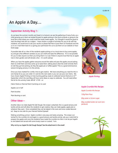 Activities to Share - An Apple a Day