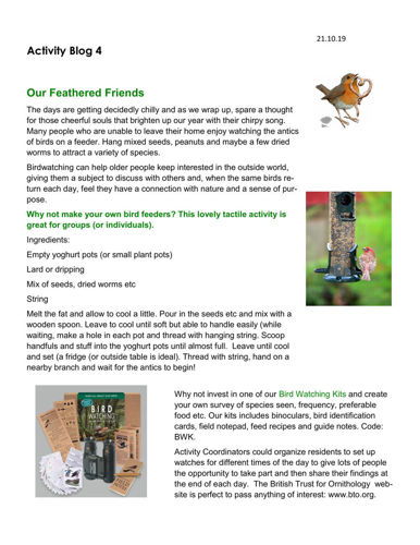 Activities to Share - Our Feathered Friends