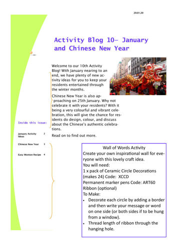 Activities to Share - January and Chinese New Year
