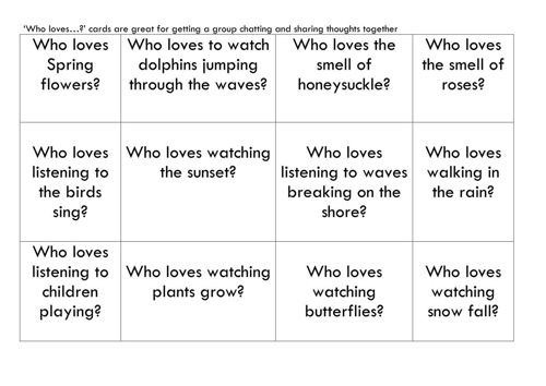 Activities to Share - 'Who Loves...?' Card Game