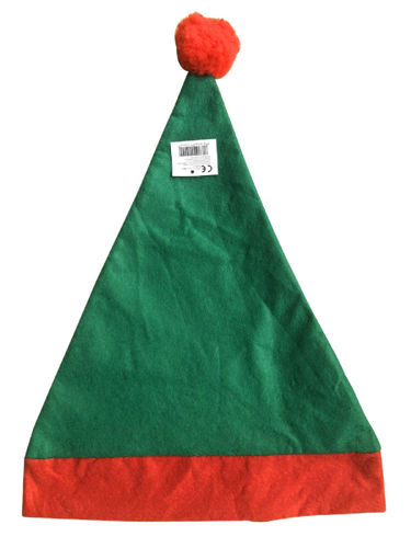 Elf Hat, felt red and green pointed hat with red bobble on the top, anysize fit, size: (l) 43cm x (w) 30cm.