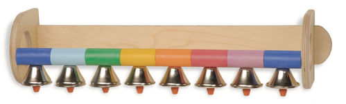 Hand Bell Instrument, natural wooden wall mounted bell musical fun, colour coded tones to match (blue green yellow orange red purple light blue) with included song booklet, 8 metal bells in 8 different tones,Size: (l) 52cm x (h) 13cm x (d) 14cm.