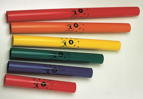 Boomwhackers, musical tubes made of hard wearing plastic, each one a different tone, Set includes:  red tube - C tone (long) orange - D tone yellow - E tone green - G tone blue - A tone red - C (short) Size: Longest tube (l) 62cm. (dia) 4.5cm. Six assorted tubes.