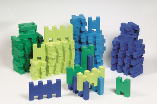 Giant Foam Building Blocks, 60 assorted lightweight foam blocks to build structures as a group, Set includes:  40 x basic blocks 20 x H blocks Size: Basic blocks (l) 21cm x(w) 12cm. H block: (l) 12cm x (9cm).
