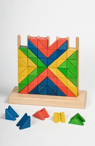 Upright Mosaic game, eco friendly wood construction cognitive game, Set includes:  1 x stand 72 x coloured game pieces template designs Size: Stand: (h) 26cm x (w) 28cm x (d) 3.5cm. Game pieces: (l) 3.5cm x (w) 3.5cm x (d) 3.5cm.