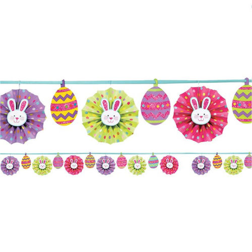 Easter Paper Fan Garland, colourful cute bunnies peeking through a fan in between patterned eggs strung along a garland, made from card shapes, lilac pink yellow and green shapes, Size: (l) 3.65m.