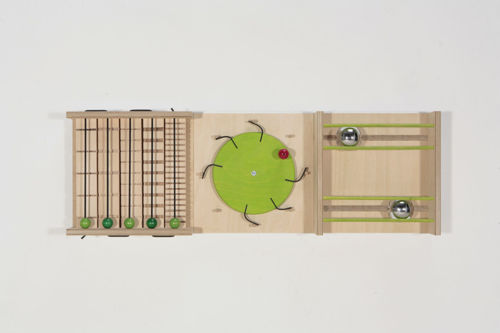 Sensory Wall Panel Set - Sounds 1,  natural birch wood and aluminium wall mounted activity board for care homes, different sound effects 2 x metal balls with sounds, 5 x green wooden balls on grooved posts and 1 x green wooden wheel with wooden spokes moving over rubber posts,  size: (l) 91cm x (w) 31cm.