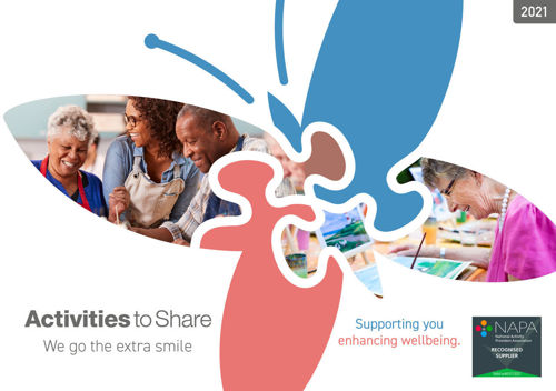 Activities to Share 2021 free catalogue, packed with innovative activity ideas for care homes hospitals day care centres schools, suitable for all abilities