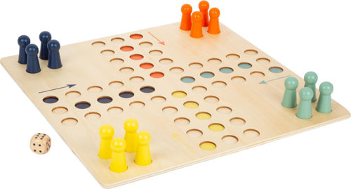 XL Ludo game, all wood construction, set consists of natural wood board with recessed spaces, 4 each of yellow, orange, light blue and dark blue playing pieces, natural wood dice, cotton storage bag, instructions, Size: Board: (l) 45cm x (w) 45cm x (d) 1cm. Playing pieces: (h) 5cm x (dia) 2.5cm.