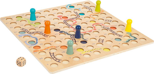 XL Snakes and Ladders Game, all wooden construction, natural board with printed snakes and ladders, Set includes:  Game board 6 x playing pieces (1 each of: yellow, green, orange, sky blue, mid blue and grey) Storage bag Instructions Size: Board: (l) 45cm x (w) 45cm x (d) 1cm. Playing pieces: (h) 5cm x (dia) 2.5cm.