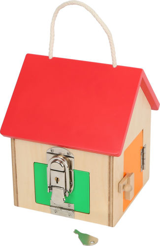 Compact Lock House, wooden house with rope carrying handle, red roof with green, yellow, blue and orange doors - each with a different lock to open, Size: ((h) 17.5cm x (w) 13cm x (d) 13cm.
