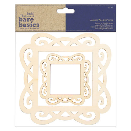 Wooden Magnetic Frame Set, set of 2 frames, one each large and small, wooden cut-out edges in natural wood ready to paint, backing with magnets for easy attachment