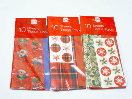 Christmas Tissue Paper, 10 assorted sheets in red gold white and green designs