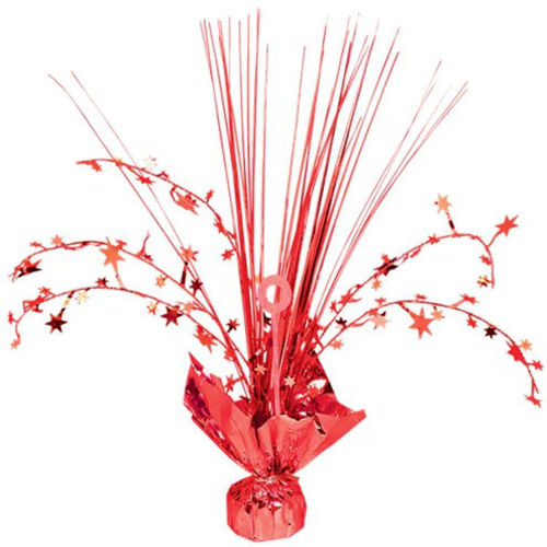 Red Foil Table Centrepiece, red foil table decoration with upright foil strands with 6 foil wired strands with stars, weighted foil-wrapped base, size (h) 30cm