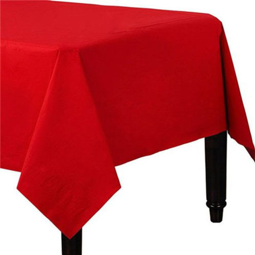 Red Table Cloth, pack of 2 paper covers for parties celebrations displays. Image shows end of an oblong table with red table cover, Size: (l) 90cm x (w) 90cm.