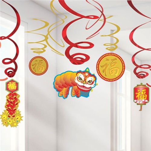 Chinese New Year Hanging Decor, pack of 12 assorted, 6 x foil swirls in red, 6 x card cut-outs (Chinese dragon, fireworks, lantern and coins) image shows decorations hanging from a ceiling. Red and gold colours, Pack contains:  6 x swirl decorations 6 x cut-out decorations Size: (l) swirls (45cm ) cut-outs (60cm)