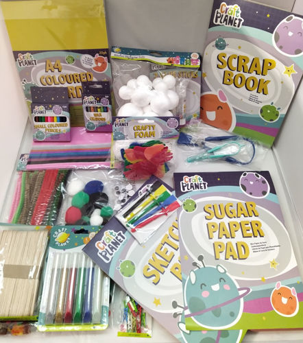 Art Set 2, varied mix or art papers colouring pens crayons and craft items for care home activities, image shows multicoloured booklets, pom poms, polystryrene balls, lolly sticks and other items for art and craft projects.