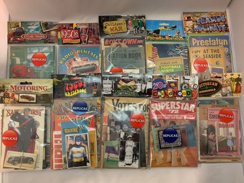 Memorabilia Pack Complete Collection, 19 assorted packs of replica adverts, leaflets, newspapers, tickets and many other items for displays and discussions, eras range from Victorian through to 1960's Beatles