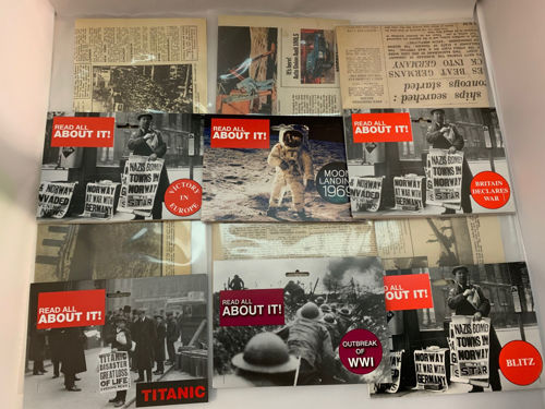 Newspaper Complete Collection, set of 9 replica newspapers including: VE Day, Britain Declares War, Battle of Britain, Moon Landing, Dambusters, Dunkirk, WW1, Titanic and London Blitz, black and white newspapers in clear plastic.