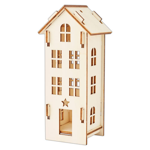 Tall Wooden House Kit, self assembly kit, 3mm plywood shapes, natural wood assembled house with cut out doors and windows, star shape above door, Size: (w) 7cm x (h) 16cm x (d) 5.8cm. 3mm plywood shapes.