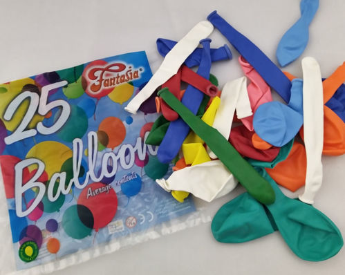 Balloons, pack of 25 assorted, image shows colourful bag depicting balloons with white text, assorted balloons circular and long shapes in green, white, blue, green, orange, red, yellow, pink and light blue