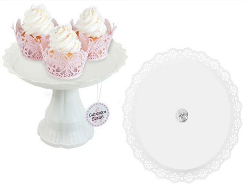 Cup Cake Stand, white plastic lightweight cake stand, filligree upturned edging and splayed central pedestal base, size: (h) 17cm x (dia) 26cm