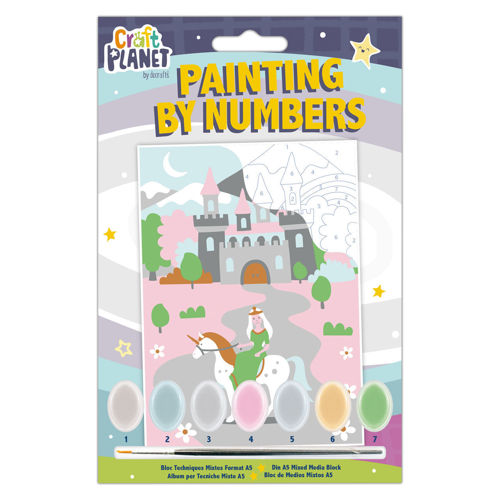 Paint by Numbers Mini includes a canvas with bold outlines of the fairy castle image - each area with a coded number that links to the paint colour needed, with 7 pots of acrylic paint and a brush. Finished image measures 21cm x 14.8cm.