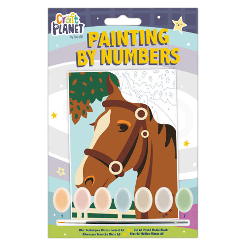 Paint by Numbers Mini - Horse, kit contains all you need for great results, canvas with numbered areas, 7 pots of acrylic paint and 1 brush, finished size: 21cm x 14.8cm