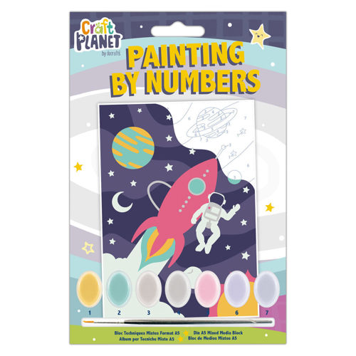 Paint by Numbers Mini - Space, kit contains canvas with numbered areas, 7 pots of acrylic paint and brush, size: 210mm x 148mm