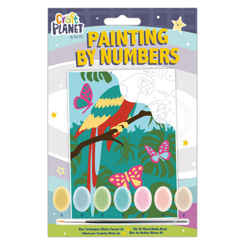 Paint by Numbers - Parrot, everything you need on one kit. Includes printed design with numbered areas linked to colours, 7 x acrylic paint pots and brush, size: 210mm x 148mm