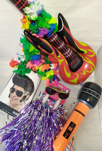 Elvis Singalong Fun Pack musical concert kit, includes: 2 x Elvis Wigs  4 x Inflatable Microphones  2 x Inflatable Guitar  2 x Elvis Sunglasses  2 x set Cheerleader Tinsel Pom Poms (4 in total)  2 x set of Flower Lei Garland (8 in total)